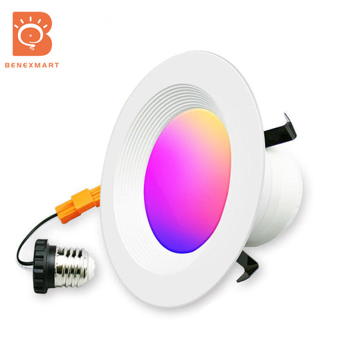 Benexmart Smart LED Ceiling Light WiFi Downlight RGBCW 4 Inch US Type Alexa Echo Google Home Tuya Control