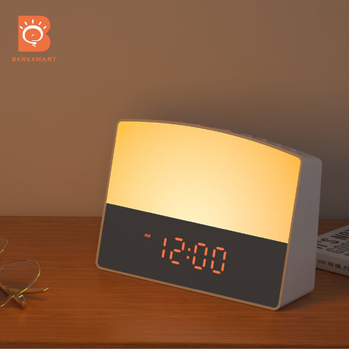 Benexmart WiFi Smart Sunrise Alarm Clock Tuya Wake-Up Light with 6 Colors LED Digital Touch Clock Timing Voice Control
