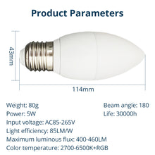Load image into Gallery viewer, Benexmart Tuya Zigbee 3.0 Led Light Bulb E27 5W Smart Candle Bulb RGBW Dimmable Lamp Smart Life APP Alexa Google Home Decoration