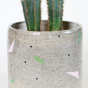 Grey Speckled Planter Pot Geometric Pattern