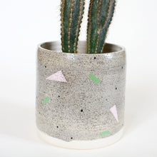 Load image into Gallery viewer, Grey Speckled Planter Pot Geometric Pattern