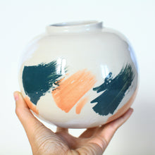 Load image into Gallery viewer, Hand Painted Flower Vase Moon Jar
