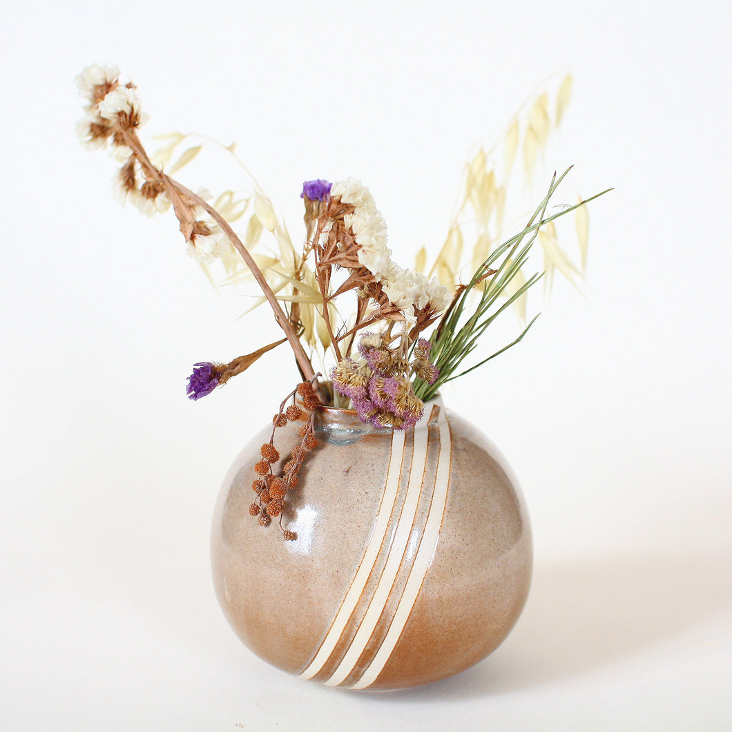 Striped Flower Vase Moon Jar