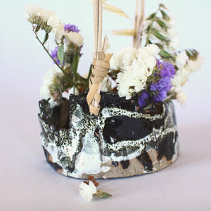 Ikebana Flower Basket with Cane Handle