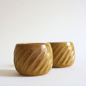 Caramel Fluted Espresso Cup or Tea Cup Set of 2 - Jenni Oh Crafts