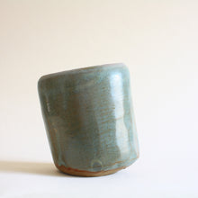 Load image into Gallery viewer, Blue Green Oval Tilted Pot - Jenni Oh Crafts
