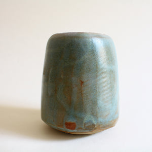 Blue Green Oval Tilted Pot - Jenni Oh Crafts