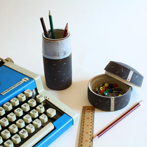 Ceramic desk organiser set - pen holder and lidded caddy