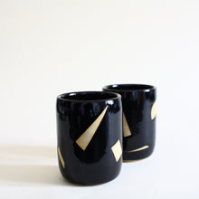 Load image into Gallery viewer, Confetti Design Black Ceramic Tumblers Set of Two