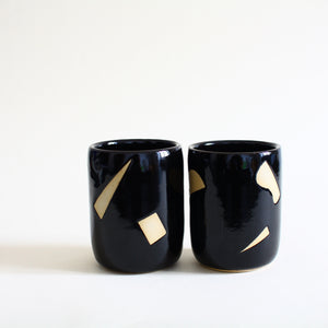 Confetti Design Black Ceramic Tumblers Set of Two