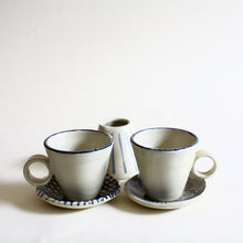 Load image into Gallery viewer, Eggshell Espresso Cup and Saucer Set for 2 with Creamer