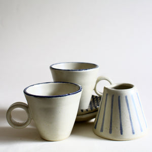 Eggshell Espresso Cup and Saucer Set for 2 with Creamer
