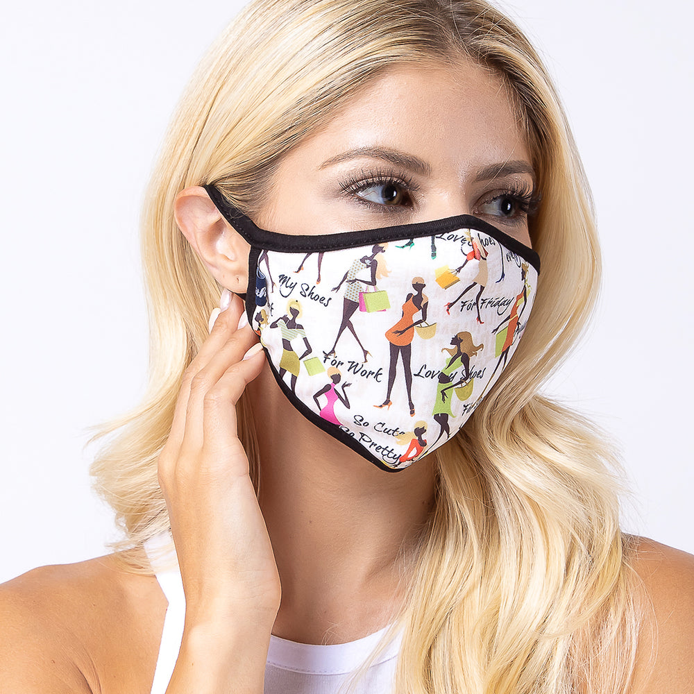 Shopping Addict Girls 3-Layered Face Mask