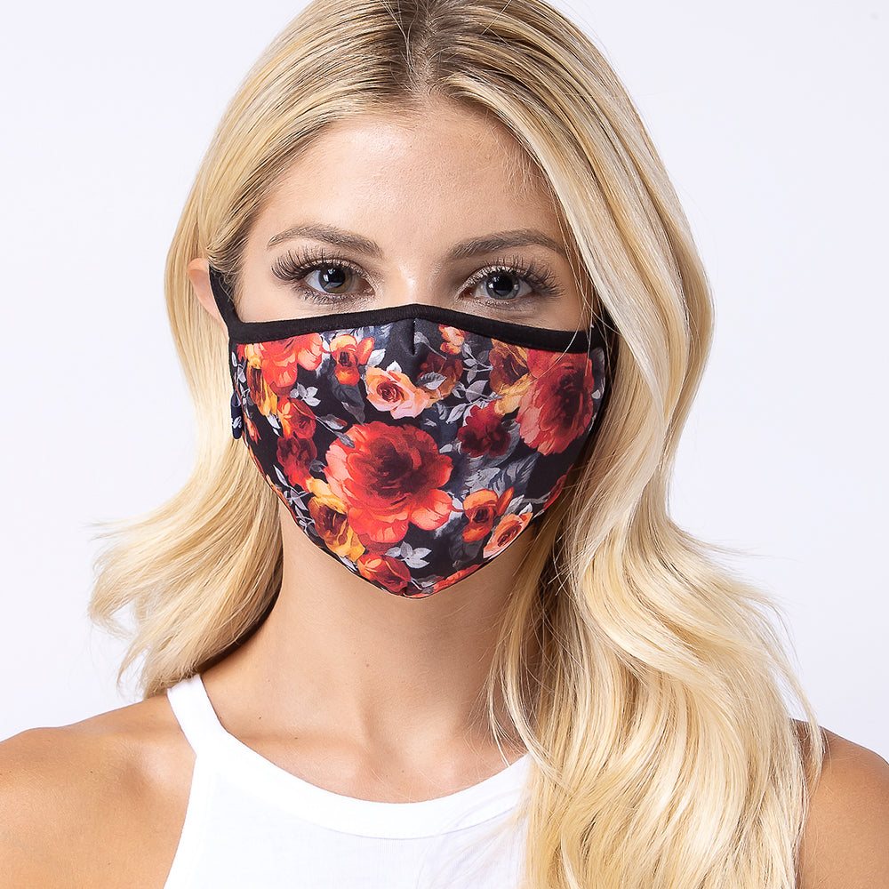 Red Rose in Dark 3-Layered Face Mask