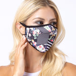 Floral Multi Stripe 3-Layered Face Mask
