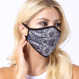 Black Damask 3-Layered Face Mask-PM0116