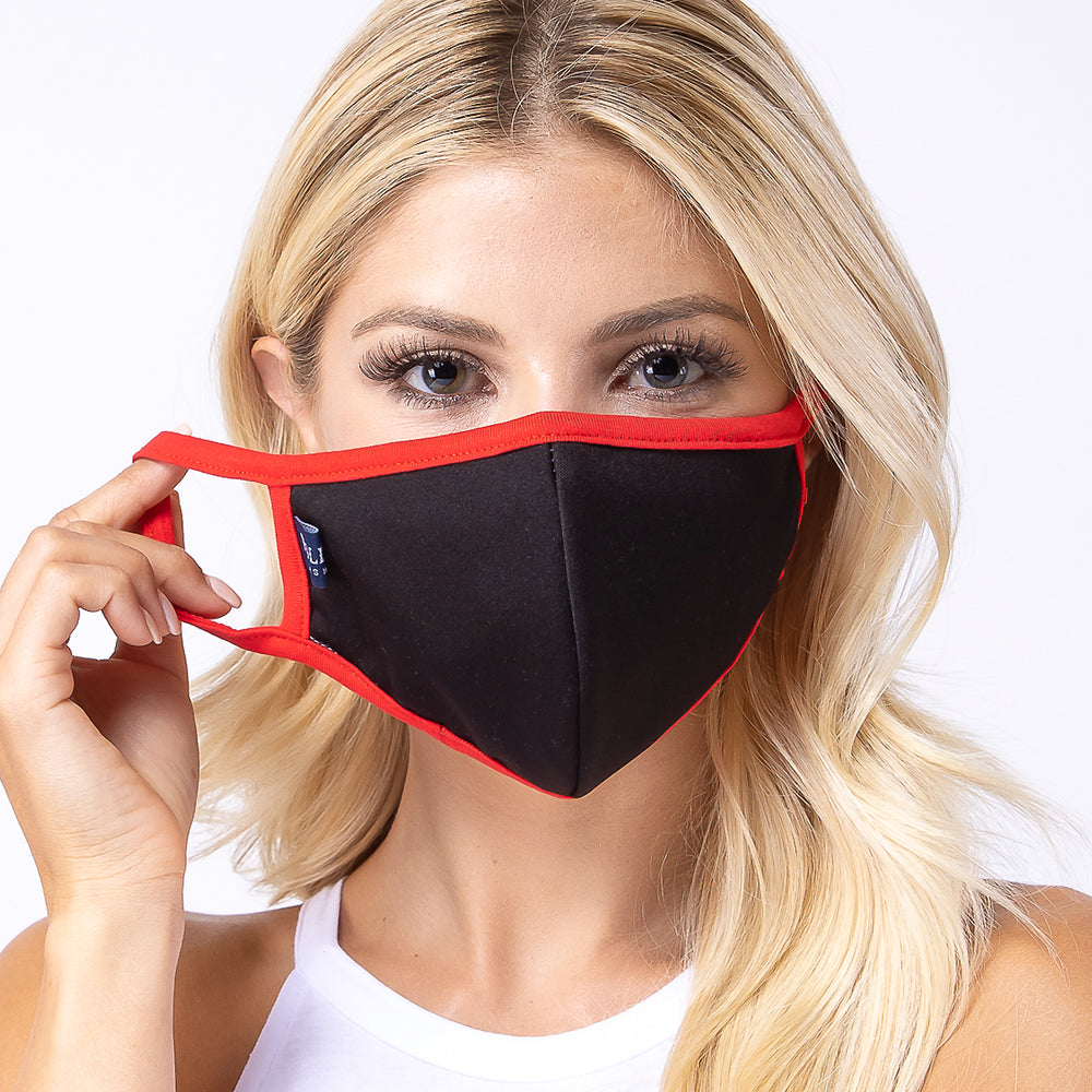 Black Red 3-Layered Filter Face Mask-PM2015