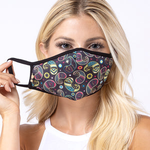 Load image into Gallery viewer, Black Multi Paisley 3-Layered Face Mask-PM0167