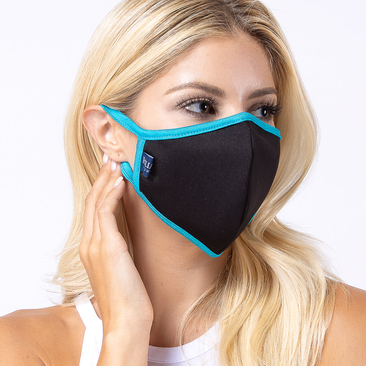 Black Turquoise 3-Layered Filter Face Cover-PM2014
