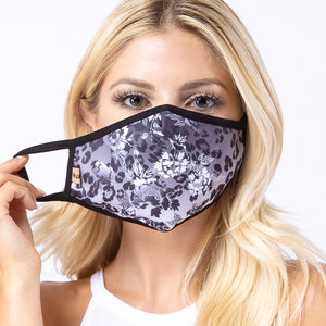 Grey Cheetah & Flower 3-Layered Face Mask-PM0049
