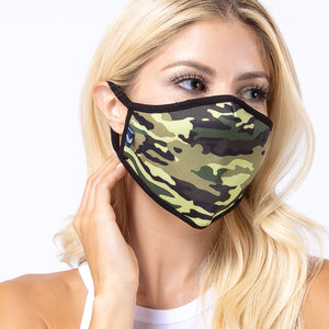 Green Camo 3-Layered Face Mask
