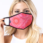 Red Aztec 3-Layered Face Mask-PM0143