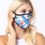 Blue Tropical 3-Layered Face Mask