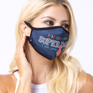 Navy Super Dad 3-Layered Face Mask-PM0181