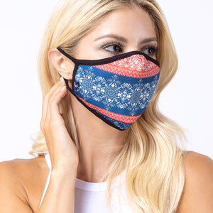 Contrast Damask 3-Layered Face Mask-PM0162