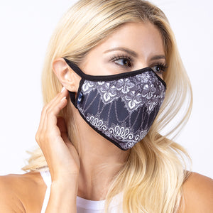 Load image into Gallery viewer, Black White Damask 3-Layered Face Mask