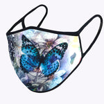 Blue Butterfly 3-Layered Face Mask
