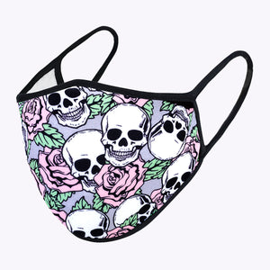 Cartoon Skull Flower 3-Layered Face Mask-PM0057