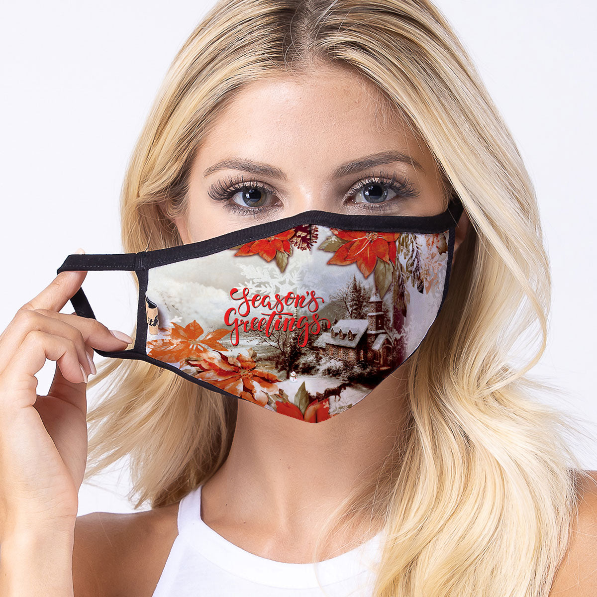 Poinsettia 3-Layered Face Cover-PM0285