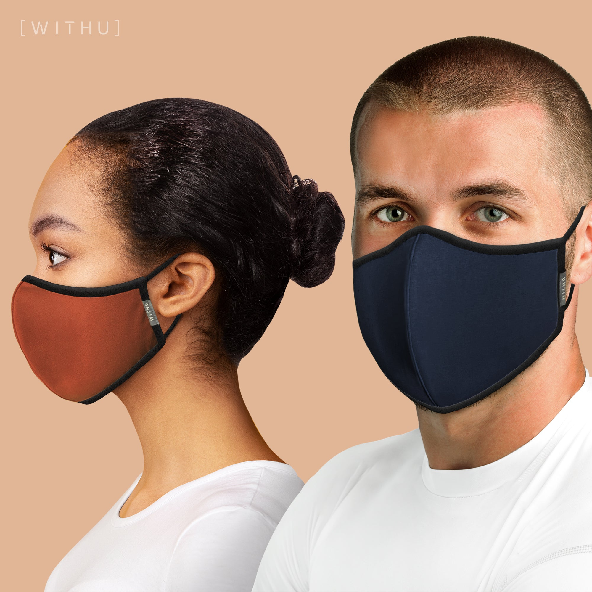 WITH U Washable Reusable Face Masks - 3-Layer with Adjustable Ear Loops - Sky_Blue - PM4001