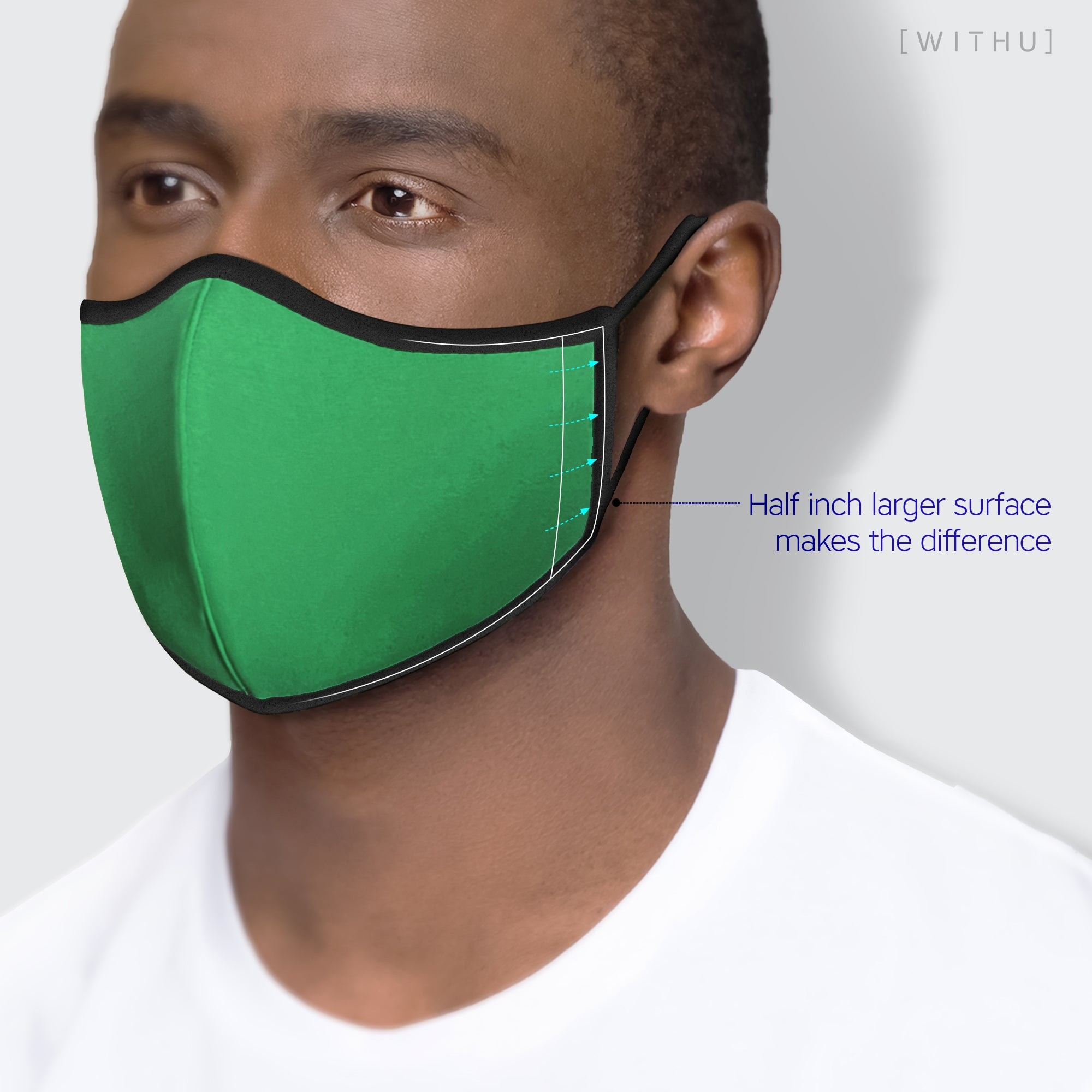 WITH U Washable Reusable Face Masks - 3-Layer with Adjustable Ear Loops - Mustard - PM4001