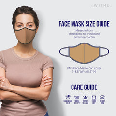 WITH U Washable Reusable Face Masks - 3-Layer with Stretchable Ear Loops - Charcoal - PM3001