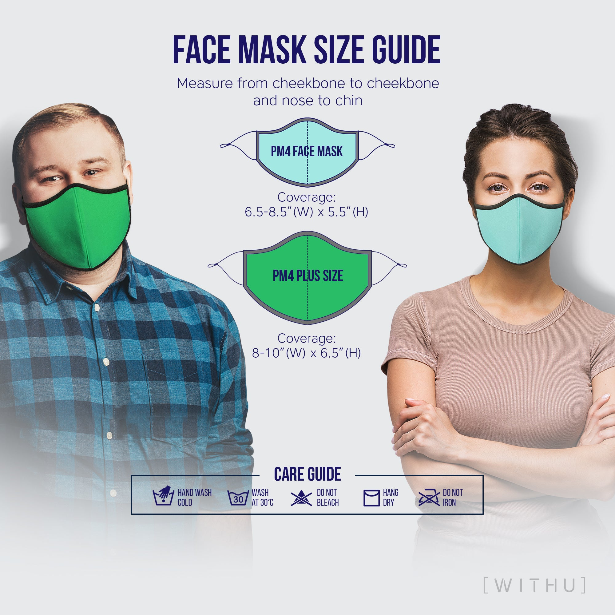 WITH U Washable Reusable Face Masks - 3-Layer with Adjustable Ear Loops - Designer Print - PM4069