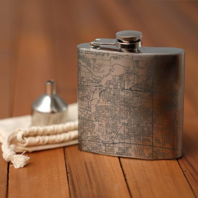 Arlington - Texas Map Hip Flask