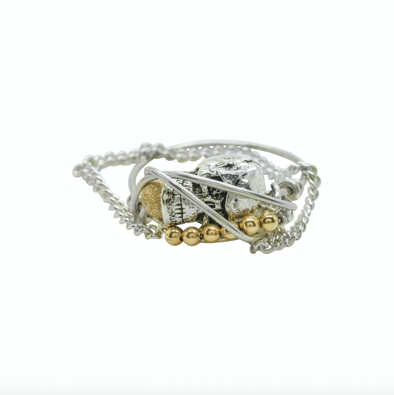 Kat and Bee Silver Skull and Chain Ring_Mr SC by Kat&Bee Jewellery