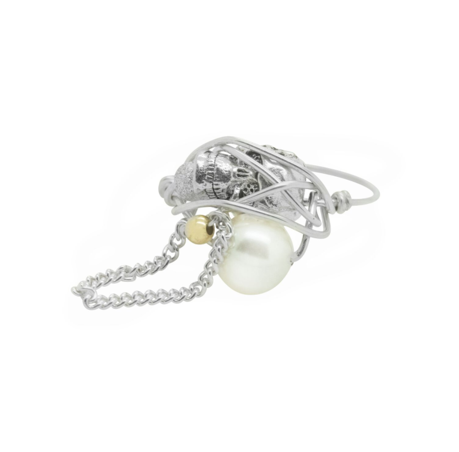Rings SILVER PEARL SKULL & CHAIN RING RING:  Handmade by Kat&Bee Jewellery