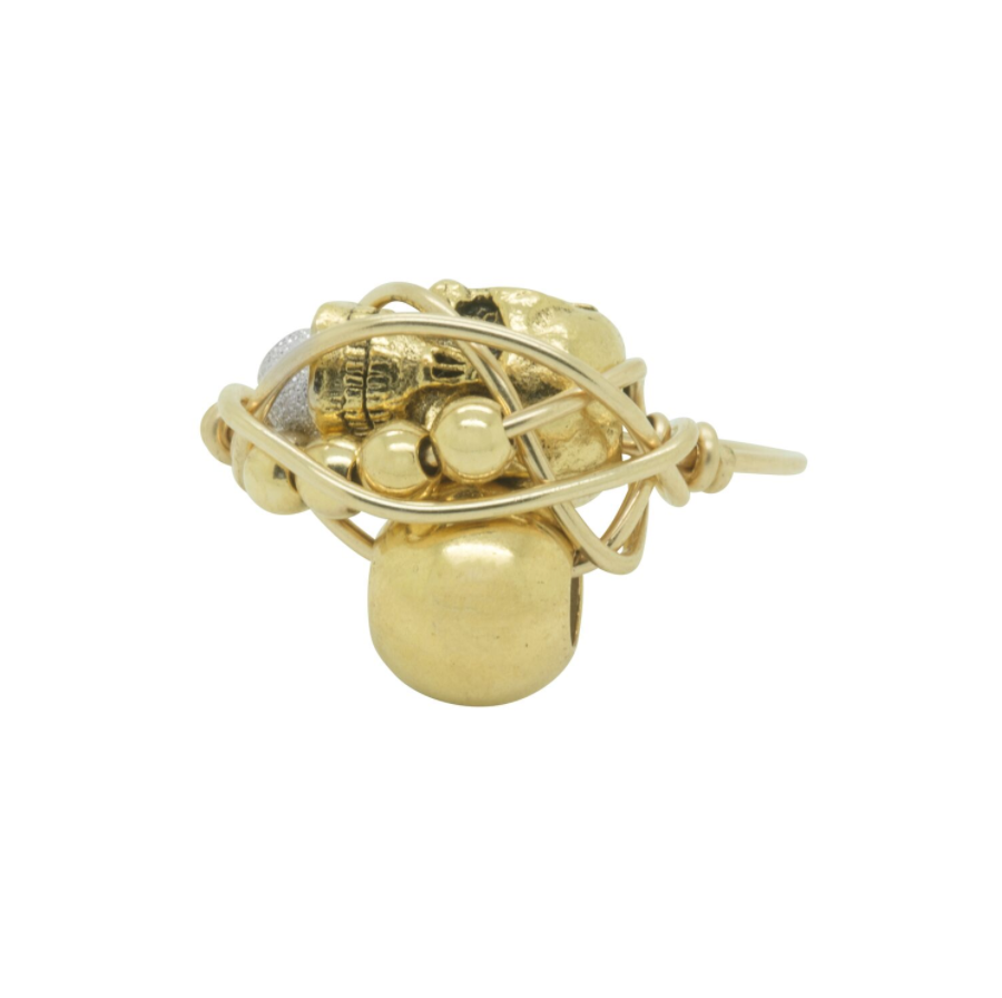 Kat and Bee GOLD SKULL & GOLD BEAD RING:  Handmade by Kat&Bee Jewellery