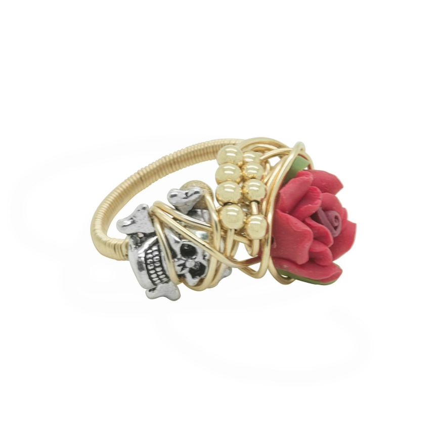 Rings GOLD SKULL, CROSSBONE AND RED FLOWER WRAP RING:  Handmade by Kat&Bee Jewellery