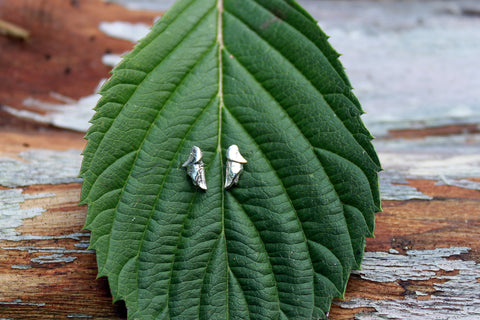 Emerging leaves silver studs earrings