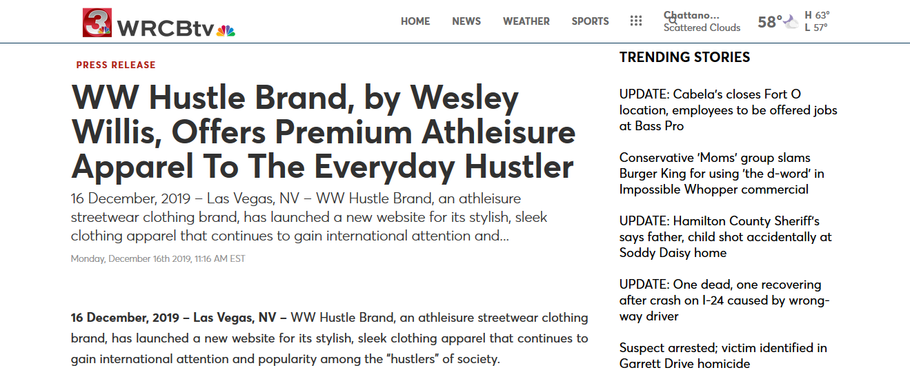 WW Hustle Brand featured on NBC Chattanooga, TN-WRCB
