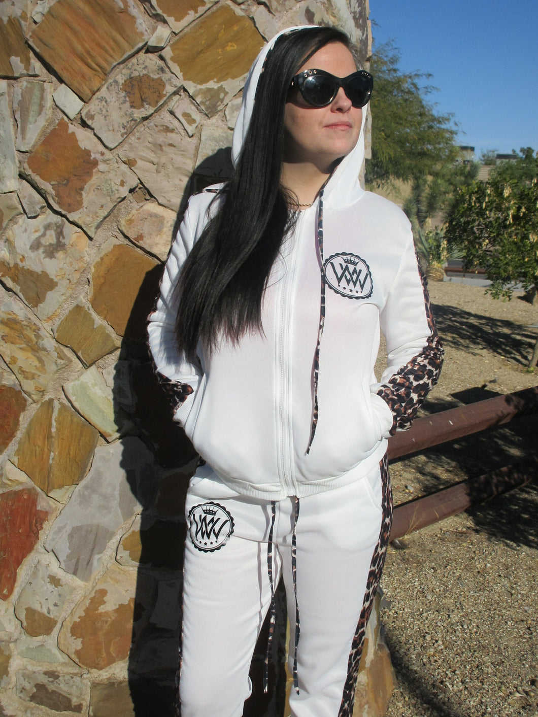 WW Hustle Brand Leopard Set White