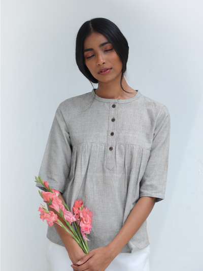 LL BL05 Grey Gathers Top - Studio Y