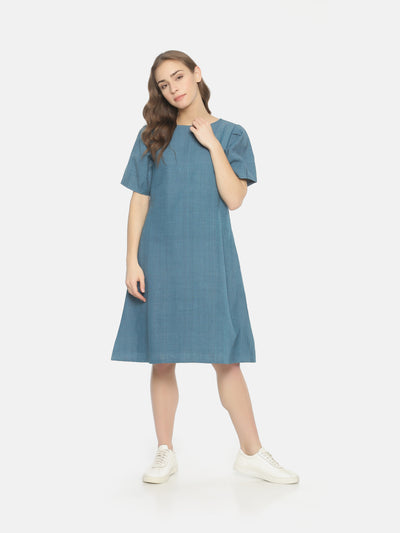 Balloon Sleeve Dress - Blue - Studio Y