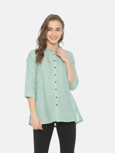 Linen Ruffle Neck Top - Studio Y