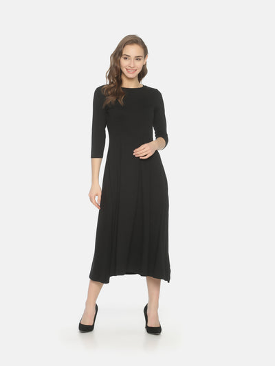 Slit Knit Dress - Black - Studio Y