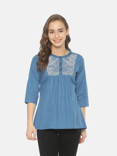 Embroidered Yoke Top Blue - Studio Y